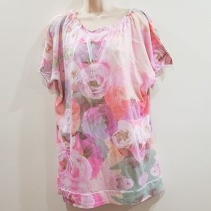 Fashion bug women's pink floral pattern blouse
